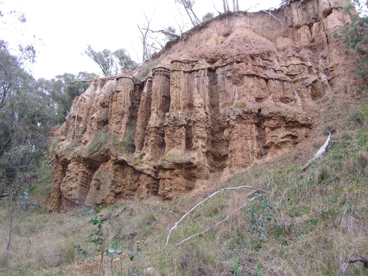 Unnatural land forms left by alluvial mining in another area.